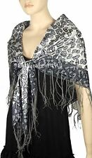 "Elegant Large 39""x39"" 100% Silk Leopard Pattern Fashion Scarf Wrap, Lt Gray/Gray"