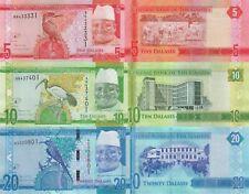 Gambia 3 Note Set: 5, 10 & 20 Dalasi (ND/2015) - p31/p32/p33 UNC