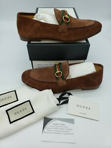 Gucci Mens Brown Suede Brixton Horsebit Loafers 7.5 UK 8.5 US