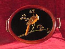 Tablett Art Deco Papagei Sittich Perlmutt Hinterglasmalerei