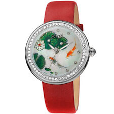 Women's Burgi BUR188RD Crystal Fish Flower Dial Red Satin Leather Strap Watch