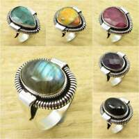 Choose Your Size ! 925 Silver Plated Blue Fire LABRADORITE & Other Gemstone Ring