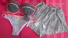 3 Piece Victoria Secret top 36D Pebble Dot Bandeau bikini Large M Cover-up Short