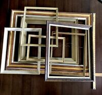 "Picture Frames Solid Wood Lot of 7 Crafts DIY Large up to 43"" Vtg Mid Century"