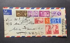 195? Ship Cover Sea Post 7 Gb +3 Canada Mix Stamps Trinidad ! Ss Empress Britain