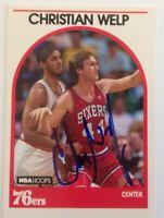 Christian Welp 1989 Hoops Hand Signed Card Philadelphia 76ers