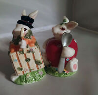 Vintage TWO BUNNY RABBITS IN Costume salt and pepper shakers set