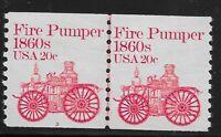 US Scott #1908, Plate #3 Line Pair 1981 Fire Pumper 20c FVF MNH