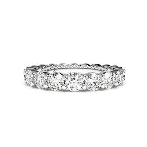 14k White Gold Eternity Band 1.80Ct Moissanite Womens Engagement Ring Size 7 6.5