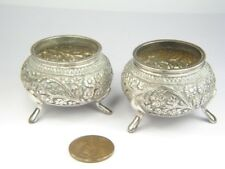 QUALITY PAIR of ANTIQUE 19th CENTURY INDIAN KASHMIRI SILVER SALT CELLARS