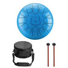 More details for 12 inch steel tongue drum 13 notes handpan with drum mallets dark blue color #