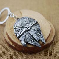 Fashion Silver Star Wars Millennium Falcon Metal Key Ring Keyring Keychain Gift
