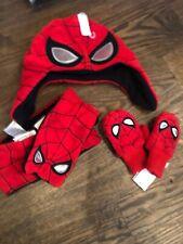 NWT Baby Gap boy 3-piece WINTER red spiderman hat mittens scarf SET 12 18 24 XS