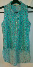 JUST FUNKY Silky Blue High Low Bird Print Sleeveless Blouse Top * Size Small