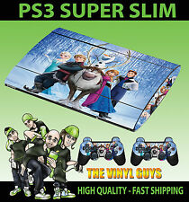 PLAYSTATION PS3 SUPER SLIM FROZEN CHARACTERS ELSA ANNA SKIN STICKER & PAD SKINS