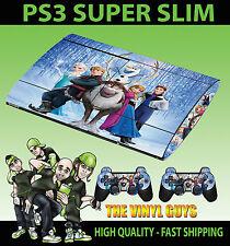 Playstation PS3 SUPER SLIM FROZEN PERSONAJES Elsa Anna Pegatina de Cubierta &