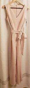 NEW! Calvin Klein Women's Pink/White Animal Print Sleeveless Jumpsuit Size 6