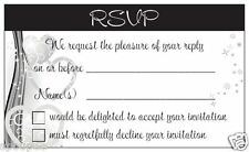 10 RSVP CARDS reply for wedding invitations black white silver hearts engagement