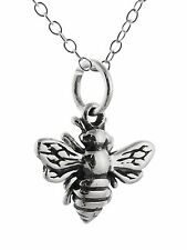 Tiny Honey Bee Necklace - 925 Sterling Silver Queen Bumblebee Charm Pendant NEW