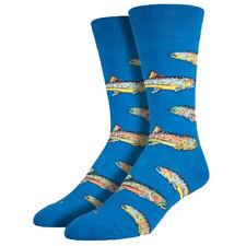 Socksmith Men's Crew Socks Trout Fish Ocean Blue Novelty Footwear Fun Apparel