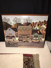 "Charles Wysocki ""Valley Farm Street""  Americana Folk Country Art On Wood 13 x 11"