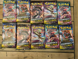 10x CHAMPION'S PATH TCG Booster Packs Factory Sealed Unweighed From Elite Box 1