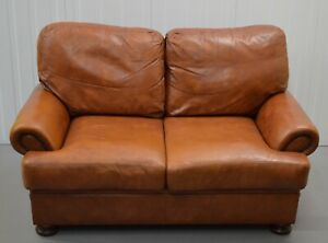 JOHN LEWIS CHESTNUT BROWN LEATHER  2 SEATER SOFA /FOR SMALL SPACES/ ARMCHAIR AVA