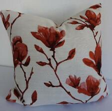 Deep Burnt Orange Jacquard Damask Magnolia Renaissance Floral Cushion Cover 45