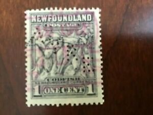 """Newfoundland - Canada 1 cent Perfin AYRE used stamp """"COD FISH"""" VG Lot 9940"""