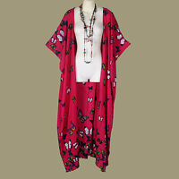 D20786 NEW RED PINK BUTTERFLY DUSTER WRAP LONG JACKET PLUS SIZE WOMENS 4X 5X 6X