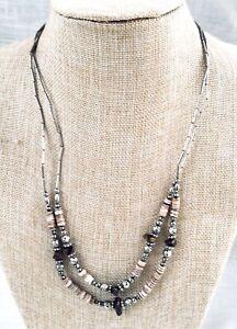 Vintage 2 Strand Artisan Necklace, Liquid Silver, Heishi & Tiger's Eye Necklace