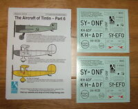 NEW!! 1/72 scale AIRCRAFT OF TINTIN DECALS PART 6 BY BLUE RIDER (Sheet CD014)