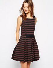 Karen Millen Zig Zag Dress Orange Black Stripe Skater Size UK 12 DT092