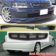 Mu-gen Style Front (PU) + CTR Rear Lip (PU) + Mu-gen Grill Fit 96-98 Civic 3dr