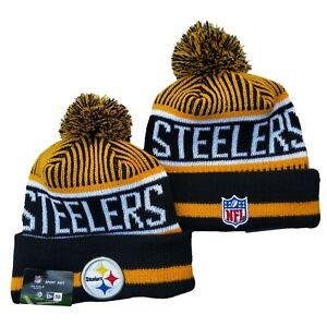 NEW ERA NFL Pittsburgh Steelers On field Sideline Beanie Winter Pom Knit Cap Hat