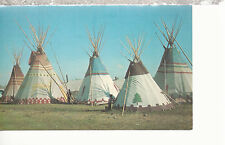 Blackfeet Teepees at Indian Encampment at Browning   Montana   Postcard 81116