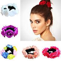 Flower Bun Warp Ring Garland Floral Head Knot Hair Top Scrunchie Band Elastic