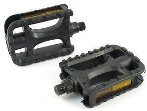 New Bicycle Pedals 9/16 Inch Pedals Cromo Spindle Plastic Pedal Bike Replacement