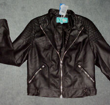 ValleyGirl: Size: 10 -12. New Season Black Biker Leather Look, Zip, Lined Jacket