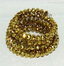 Beaded Spiral Gold Golden Bead Coil Bracelet Bangle Long Faceted Beads Vintage