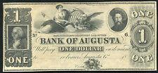 1800'S $1 ONE DOLLAR BANK OF AUGUSTA, GA OBSOLETE REMAINDER BANKNOTE