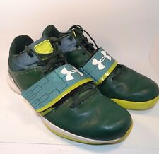 17289 Mens Under Armour Basketball Athletic Shoes ~ Size 16 W ~ Green / White