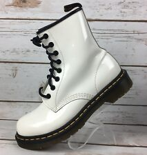 Doc Martens Women's US 7 White Smooth Patent Leather Combat Boots 8 Eyelets Dr