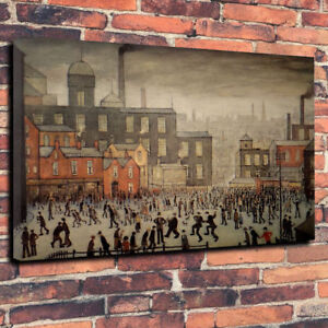 After  L.S.Lowry Our Town Printed Canvas Picture Multiple Sizes Matchstick Men