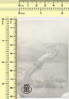 113 Shirtless Man Jump Backwards Beach Guy Motion Abstract Dive vintage photo