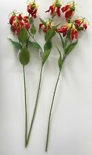 Pack of 3 Artificial Gloriosa Flower Spray 84 cm Tall - Fire Lily Red / Yellow