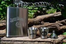Jack Daniels 6 oz Hip Flask - Shot Glass - Funnel - Set - Embossed - Old No. 7