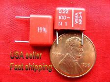 12 pc   -   .22uf  100v  (0.22uf, 220nf)  NP metalized poly radial capacitors
