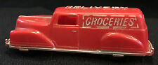 Vintage Red Plastic Grocery Delivery Car Van RENEWAL PRODUCT Made in the USA Toy