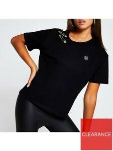 River Island Buckle Shoulder Boyfriend T-shirt - Black Size XS / 6 UK RRP £28